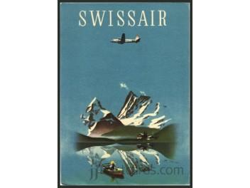 Swissair, Werbekarte, DC-4 - jjPostcards